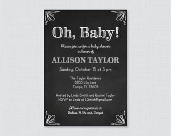 Chalkboard Baby Shower Invitation Printable or Printed - White Chalkboard Baby Shower Invites, Gender Neutral Baby Shower Invitations 0026-W