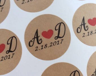 Personalized Wedding Stickers, Wedding Favors Labels, Custom Labels, Wedding Favors Stickers,  Kraft or White Labels With Heart
