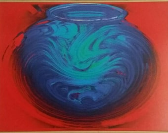 Blue Bowl on Red