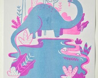 Two Colour Dinosaur Risograph Print
