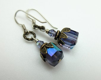 Purple Swarovski Crystal Earrings – Crystal and Antique Brass Earrings – Purple Crystal Vintage Earrings