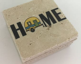 Camping Coasters HOME with Camper Natural Stone Coasters Set of 4 Perfect For Camper Yellow