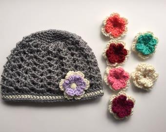 girls  hat / crochet hat / handmade hat / granny square hat/ bling / shell hat / beanie / cap