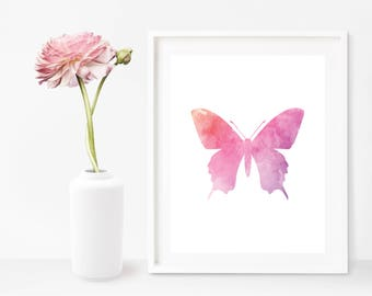 Butterfly Wall Art, Butterfly Printable, Butterfly Birthday Decor, Butterfly Art, Wall Print Download, Butterfly Nursery, Butterfly Art Gift