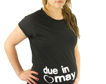 Custom Due Date Maternity T-Shirt Maternity Clothes Summer Maternity Top - You pick the month - Made From Bamboo - SUPER SOFT & Stretchy