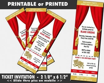 Theatre Acting Ticket Invitation, Printable with Printed Option, Girl or Boy Birthday Party, Broadway Theme Invite, Drama Class Event, Actor