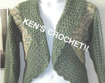 Granny and V-Stitch Bolero Jacket-Digital Download PDF Pattern only