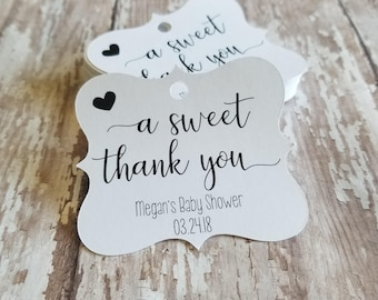 A sweet thank you, bridal shower tags, baby shower tags, candy favor, wedding favor, donut tag, doughnut tag, cookies, favors (295)