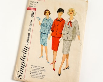 Vintage 1960s Womens Maternity Size 10 Suit Dress in Proportioned Sizes Simplicity Sewing Pattern 3667 Complete / bust 31 waist 24