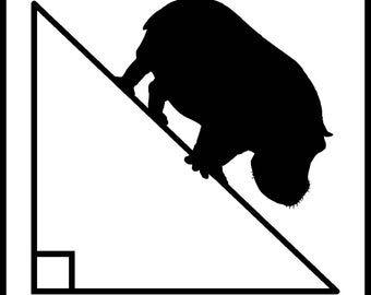 New Black and White Comedy Sticker Math Hypotenuse Hippopotamus Hippo Pythagorean Geek Nerd Student