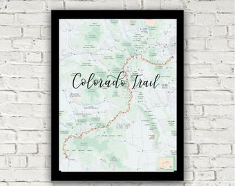 Colorado Trail   Hiking Print   Hiking trail with calligraphy lettering over Colorado trail   Gift for friend   8x10 print