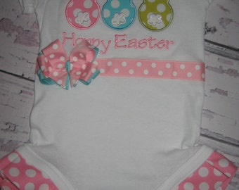 Baby Girls Easter bodysuit, monogrammed bodysuit, bunny shirt, bunny bodysuit, bodysuit with bow, easter outfit, easter shirt