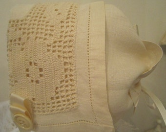 Vintage Ivory Handkerchief Bonnet