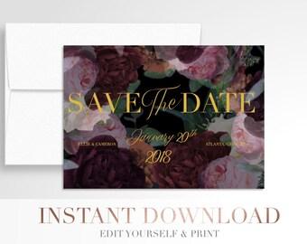 Printable Wedding Save the Date // Romantic Moody Floral // Save the Date // Digital Wedding Stationery // Templett
