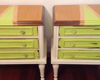 Pair Of Bedside Tables, Shabby Chic Chest Of Drawers, Nightstands, Bedside Cabinets, Mid Century Tables, Bedside Tables, Green Tables