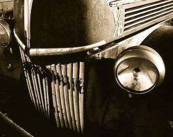 Ford Truck Photography, Ford V-8 truck, truck hood, truck headlight, vintage ride, chrome logo, black, Rustic Art, Gifts for Men