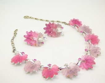 Vintage Pink Carved Lucite Rhinestone Necklace and Clip Earrings