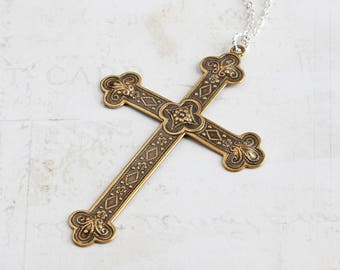 Large Cross Necklace, Antiqued Brass Cross Pendant on Silver Plated Chain, Long Pendant Necklace, Two Tone, Spiritual Jewelry