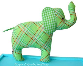 Elephant Toy with Rattle - Spring Green Plaid Cloth - Boy - Girl - Unisex New Baby Gift - Baby Safe - Toddler - Child Friendly - Soft Toy