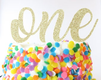 First Birthday Cake Topper - Smash Cake Topper - Gold Cake Topper - Baby Birthday - Cake Topper