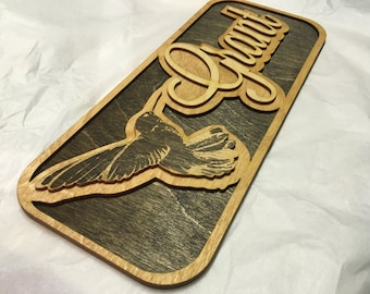 Wood Laser Cut and Laser Engraved Hummingbird Name Sign