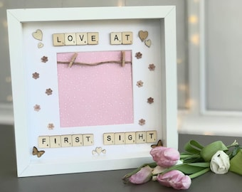 Love at first sight scrabble square frame
