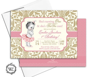 tutu birthday invitations first birthday, tutu invitation, 1st birthday invitation for girls pink and gold, printable or printed - WLP00363
