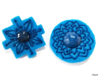 Embroidered Felt, Lapel Pins, Blue and Teal, Art Deco Brooch, Felt Flower Brooch, Felt Brooch, Felt Pin,Wedding Pin,Art Deco Wedding,Pin Set
