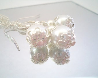 Bridesmaid Gift Set, White Pearl Necklace and Earring Set, Bridal Jewelry Set