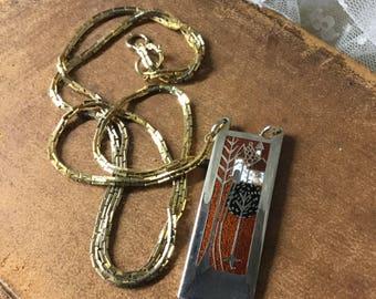 Brutalist Modernist signiert de Passille Sylvestre abstrakte Anhänger Halskette Silber Tone Gold Tone Metalle lange schmale Anhänger 1960 1970