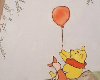 Pooh and Piglet Acrylic hand painted canvas