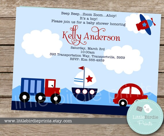 Items Similar To Airplane Birthday Invitation: Items Similar To TRANSPORTATION INVITATION Printable For
