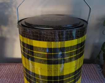 Vintage Tarton Scotch Plaid Cooler Yellow & Brown from the 1960's