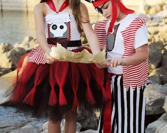 Girls Pirate Tutu Dress- Pirate Costume- girls pirate Costume- pirate Tutu- skull Tutu dress- Halloween costume-