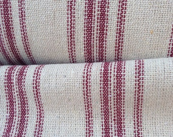 Grain Sack Fabric Red Stripes Vintage Inspired Sold By The Yard Feed Sack Fabric Flour Sack Fabric Gunny Sack Fabric Grain Sack Reproduction