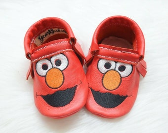 Elmo Moccs, Baby Moccs, Baby Moccasins, baby shoes, red Moccs, leather moccasins.