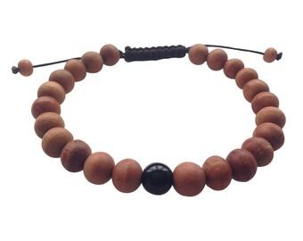 Wood Bead Tibetan Wrist Mala Bracelet with Black Onyx Spacer for Meditation