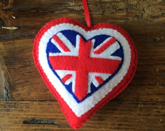 Handmade Union Jack felt heart decoration