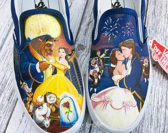 Custom Painted Disney Inspired Bridal/Groom Vans shoes sneakers All sizes.