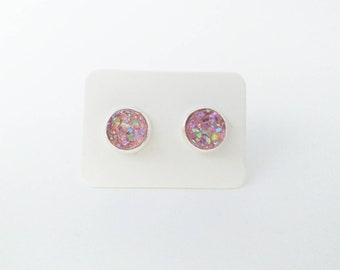 Light pink druzy silver setting stud earrings - 8mm - nickel free - mother's day gift - birthday gift for her