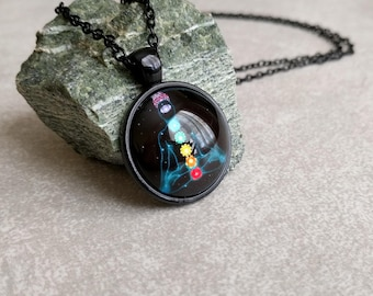 Meditation Chakra Necklace - Art Pendant in Black with Link Chain Necklace Included - Yoga Gifts - New Age Jewelry