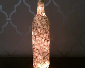Grey Faux Antique Leather Light Up Wine Bottle