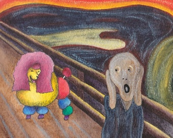 Poodle greeting card in a Munch Scream inspired design - Design No 25