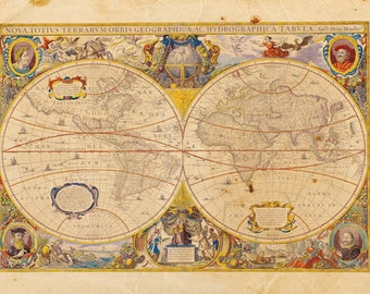 Vintage World Map Print 8x10 P48