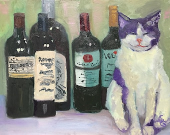 "Painting titled ""She Won't See Me If I Close My Eyes"" – still life with cat and wine, original oil, impressionistic, 16x20"", unframed"