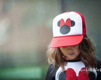 Minnie Mouse, Minnie Mouse Hat, Trucker Hat, Minnie Mouse outfit, Minnie Mouse party, Kids trucker hat, adult Trucker cap, Disney hat