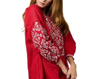 ZALXNDRA Tradition TIANA Short Tunic Dress in Scarlet Red