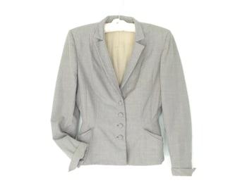 1940s blazer * 40s blazer jacket * gray wool jacket * 40s peplum jacket * vintage blazer * small