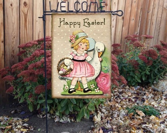 Happy Easter Vintage Inspired Door or Garden Flag, Wall Hanging #E101
