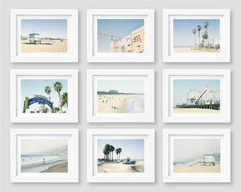 Los Angeles Beach, California Beach Prints, Black and White Photography, Malibu, Santa Monica, Gallery Wall Art, Set of 9, 5x7, 8x10, SALE